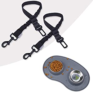 Puppy Bowls Stainless Steel Food and Water Bowls with Wider Non Skid Spill Proof Silicone Mat & Adjustable Heavy Duty Dog Car Seat Belt Harness with Bungee Buffer for Shock Absorbing