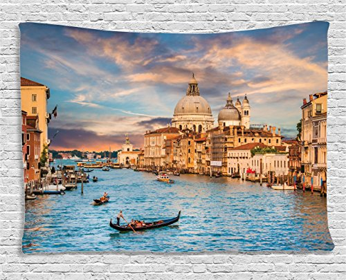 Ambesonne Wanderlust Decor Collection, Traditional Gondola On Famous Grand Canal With Basilica Di Santa Maria Della Salute, Italy, Bedroom Living Room Dorm Wall Hanging Tapestry, 60W X 40L Inch