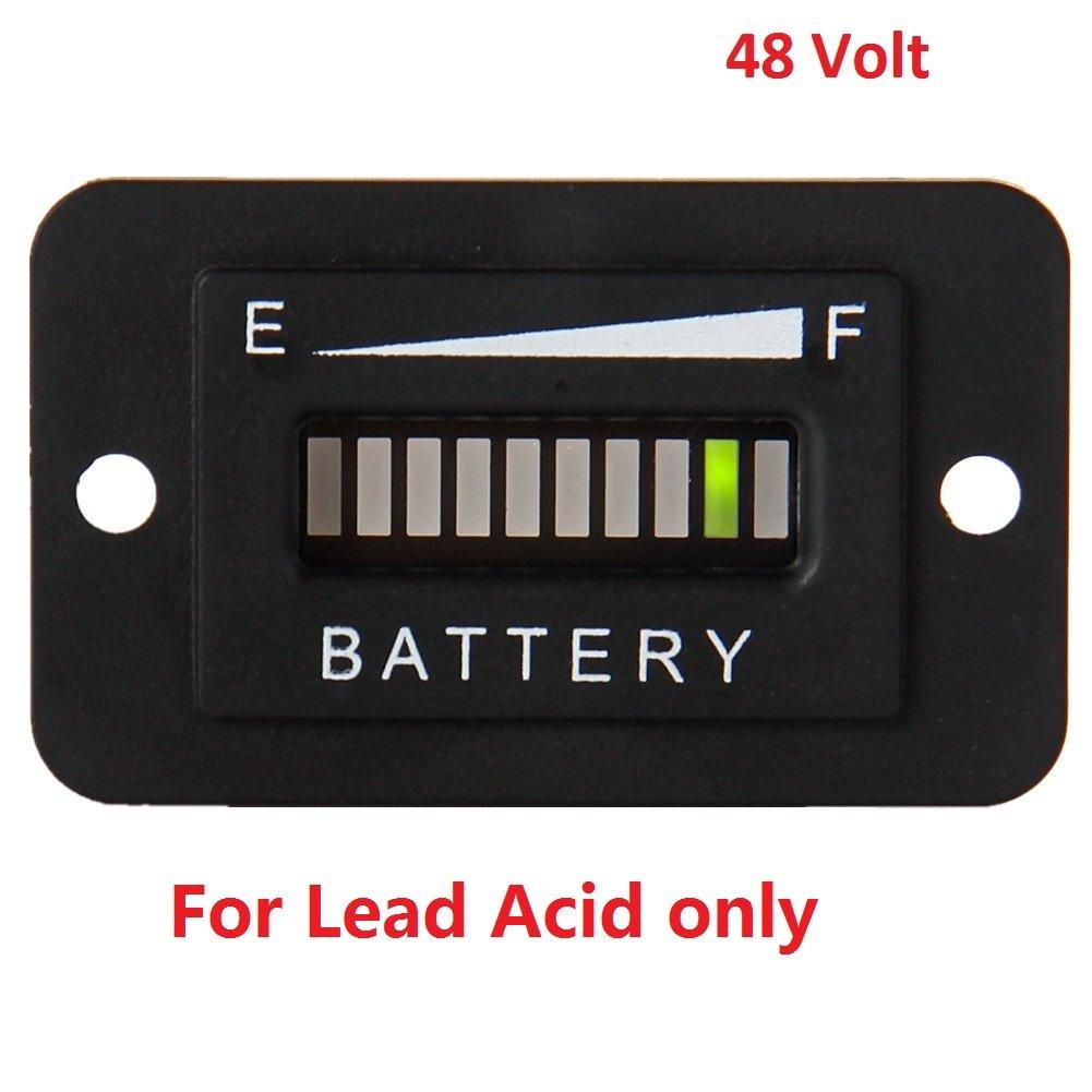 SEARON 48v LED Battery Status Charge Indicator Monitor Meter Gauge Level Indicator for Motorcycle Golf Carts Car Jet Ski
