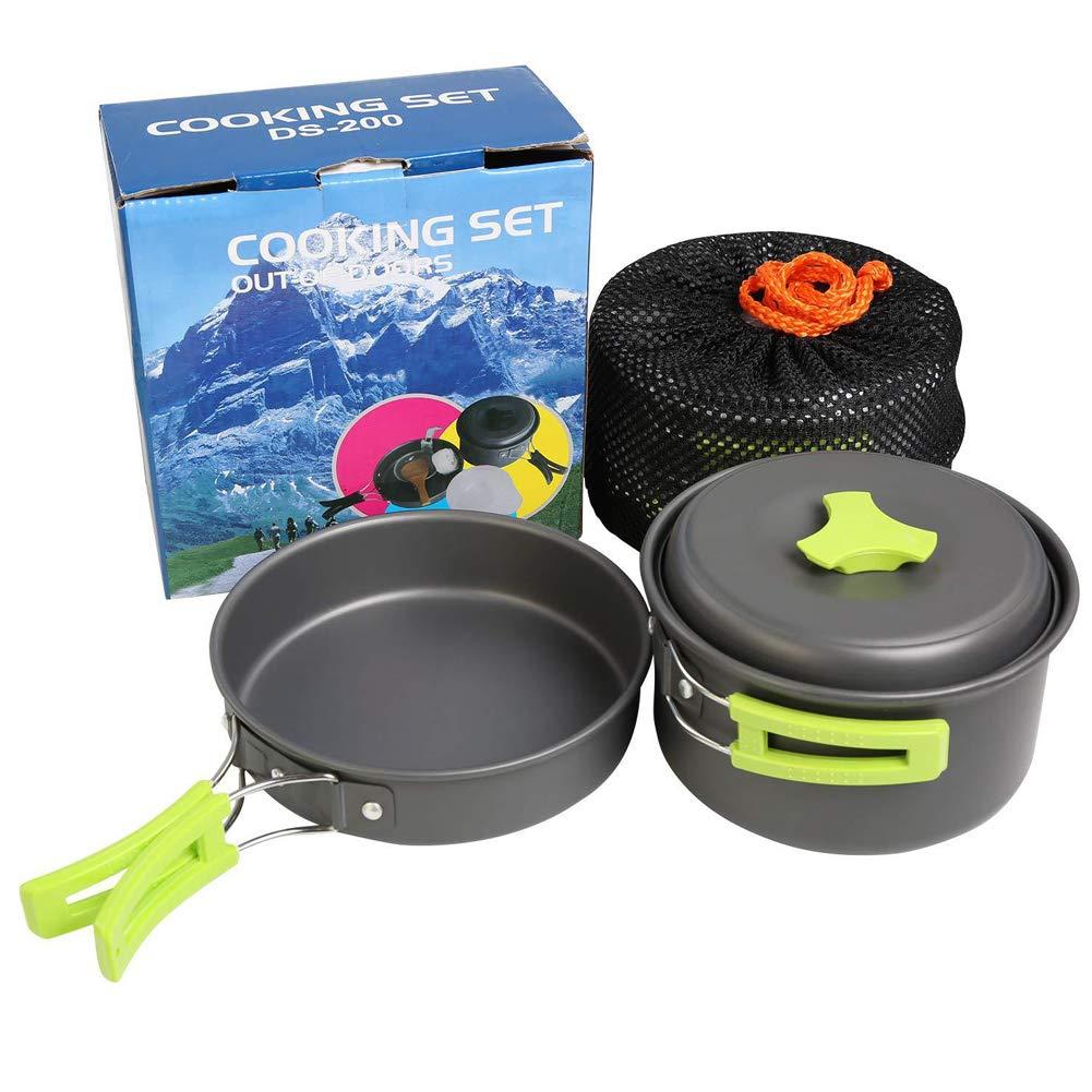 BONNIO Camping cookware Kit Nonstick Hiking Picnic Ligero apilable Cocina ollas y sartenes Set