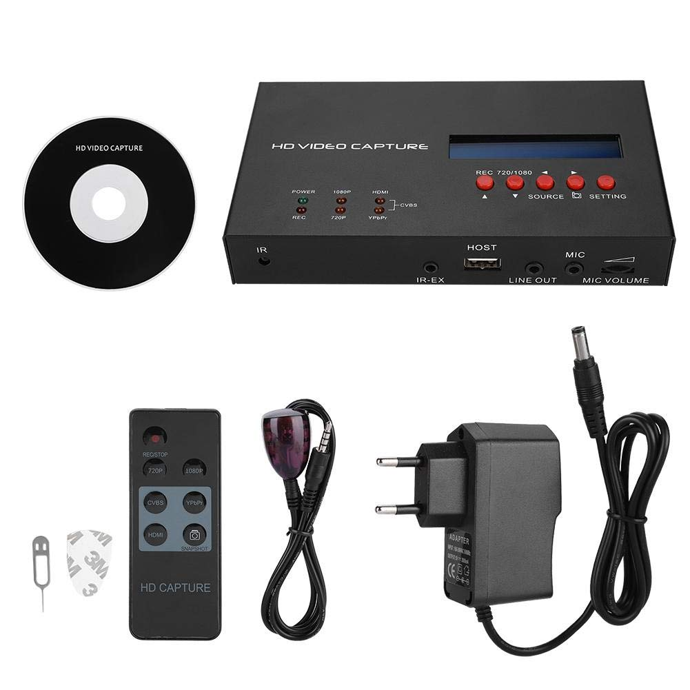 Schwarz HD 1080P Video Capture Digital-Videorecorder Aufnahme Game Capture Box,Tragbar Videoaufnahme Recorder HD Game Recorder mit Fernbedienung EU-Stecker ASHATA HD Game Capture