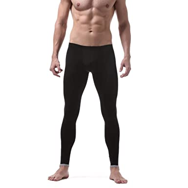 613353f86bc Sexy Male Underpants Men s Long Johns Leggings Sleep Bottom Ice Silk  Translucent Pajamas Lounge Tight Thermal