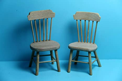 Image Unavailable Not Available For Color Dollhouse Miniature Unfinished Wood Kitchen Dining Room Chairs
