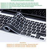 """Plastron Soft Silicone Keyboard Protector, Perfect Fit For 2012 to 2015 MacBook Air 13"""", Pro 13"""" 15""""-Black"""
