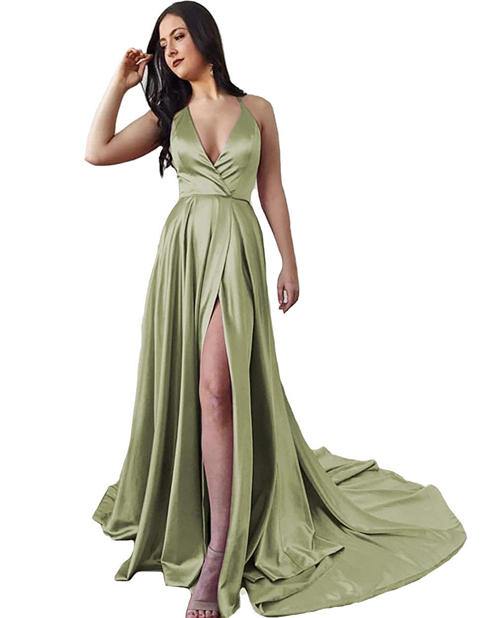 Hunter Green IVYPRECIOUS Women's Long Prom Dresses V Neck A Line with Side Split Evening Gowns