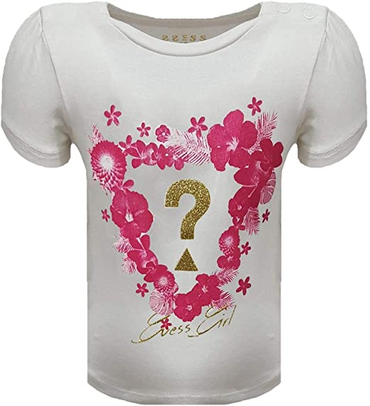 Guess Camiseta de algodón para niña, 6/9 Meses, Blanca: Amazon.es ...