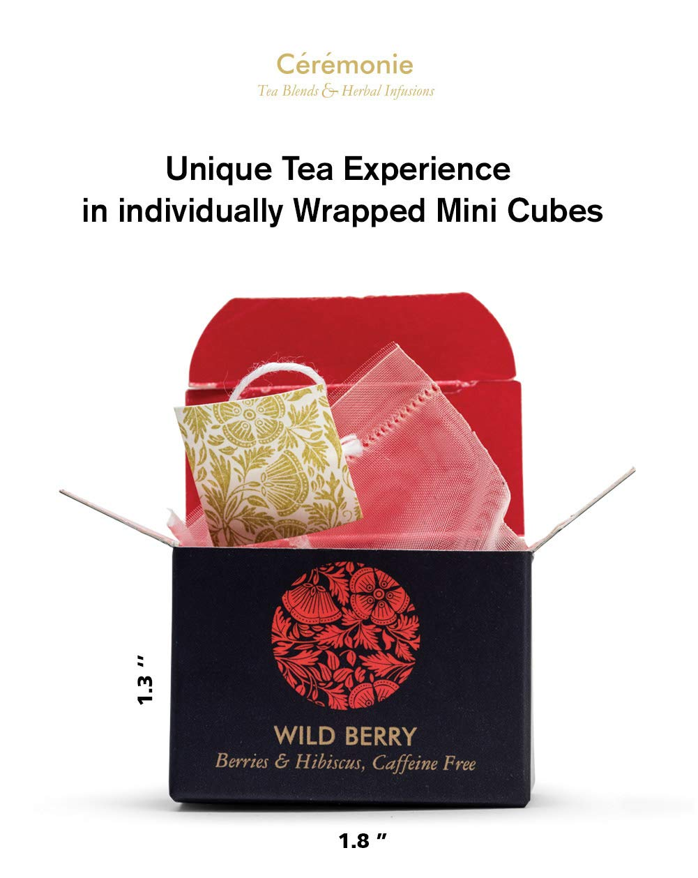 Ceremonie Tea, Premium Tea Voyage Variety Sampler Collection. 32 Individually Wrapped Mesh Bags - 13 Rich Flavors of Green, Black and Herbal Teas