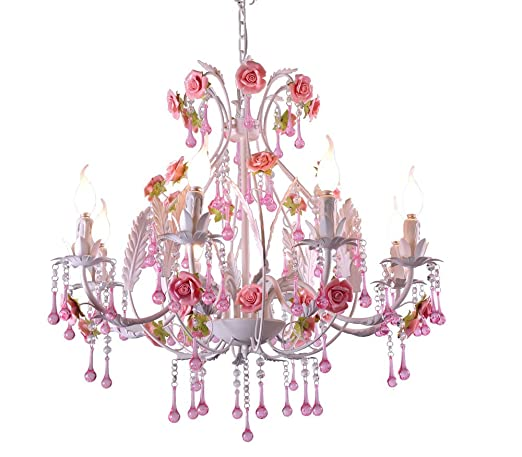 Pink Ceramic Rose Flower Garden Chandeliers Lighting Pendant Lamp Fashion  Ceiling Lights Led Light Source Wrought