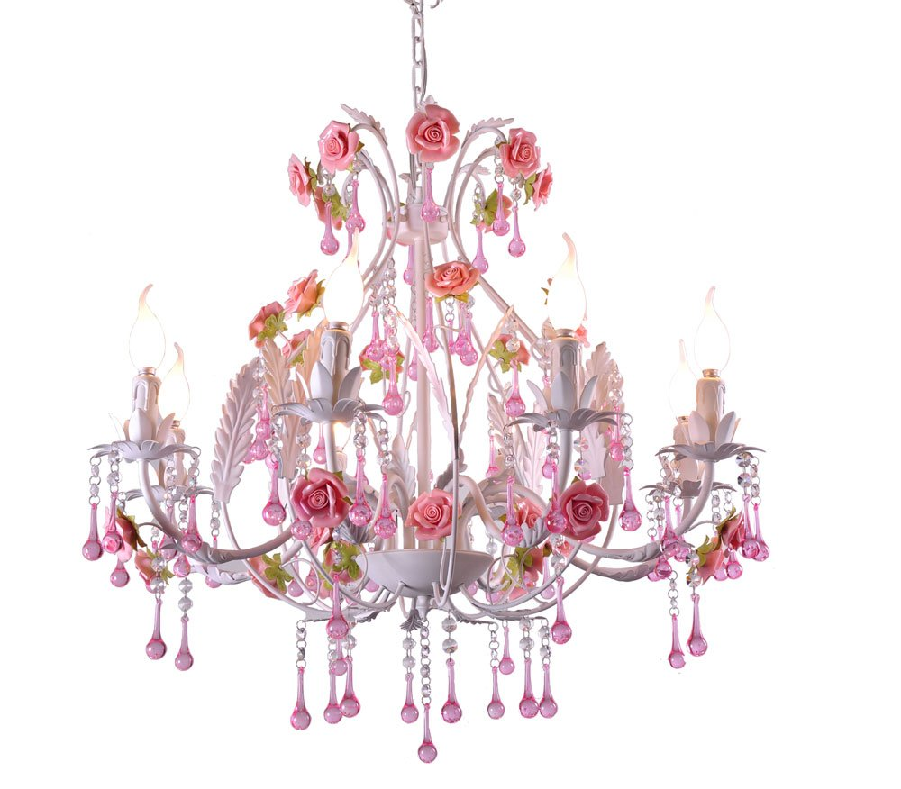 Pink Ceramic Rose Flower Garden Chandeliers Lighting Pendant Lamp Fashion Ceiling Lights Led Light Source Wrought Iron Contemporary Garden Lamps