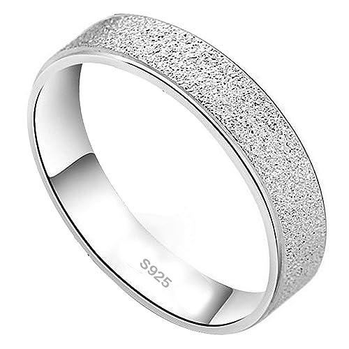 weeno dama anillo de plata de ley 925 para hombre de pantalla mate para Boda Band