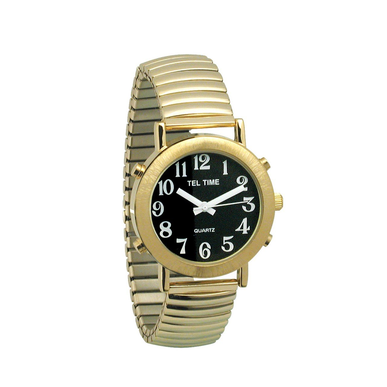 Mens Tel-Time Gold-Tone-Colored Talking Watch with Black Dial-Expansion Band by Tel-Time