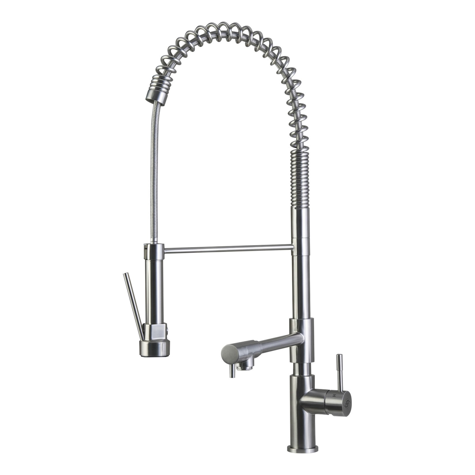 DAX Commercial Style Pull Down with Double Spout Kitchen Faucet, Swivel, Stainless Steel Shower Head and Body, Brushed Finish, DAX-C001-05, Size 12 x 27-1/2 Inches