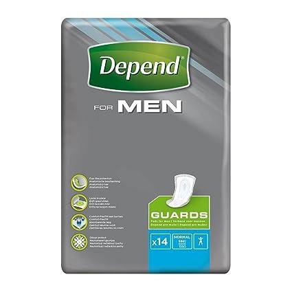 Depend guardias para hombres, máxima absorción protección de incontinencia – Pack de 14 guardias