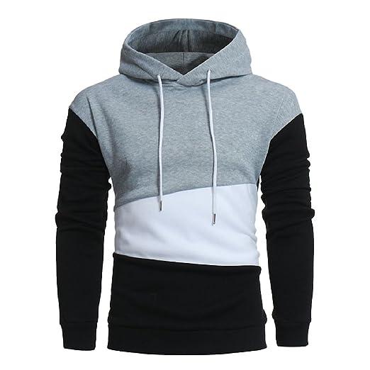 Winwinus Mens Color Block Comfy Long Sleeve Pullover Sweatshirt Hoodies  Gray Large 778ea3aae