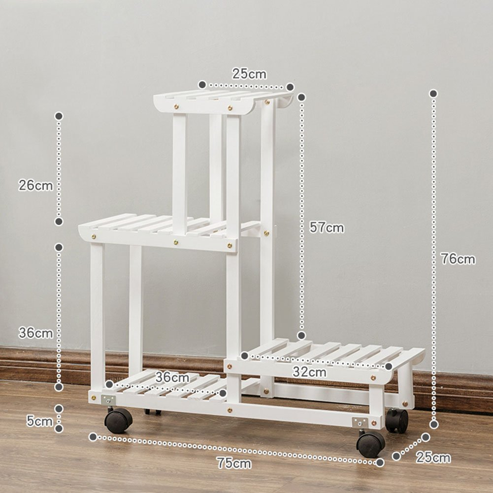 LXLA- どこでも動くことができますフラワーポットスタンドソリッドウッドディスプレイシェルフバルコニーリビングルーム鉢植えの植物ラック多層屋内 (色 : 白, サイズ さいず : 75×25×76cm) B07D36ZWW4 75×25×76cm|白 白 75×25×76cm