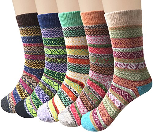 (Loritta 5 Pairs Womens Vintage Style Winter Warm Thick Knit Wool Cozy Crew Socks, H-ethnic Style, Free size,One Size,Multicolor)