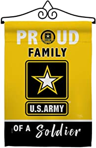 Breeze Decor Proud Family Soldier Garden Flag Set Wall Hanger Armed Forces Army Rangers United State American Military Veteran Retire Official House Banner Small Yard Gift Double-Sided, Made in USA