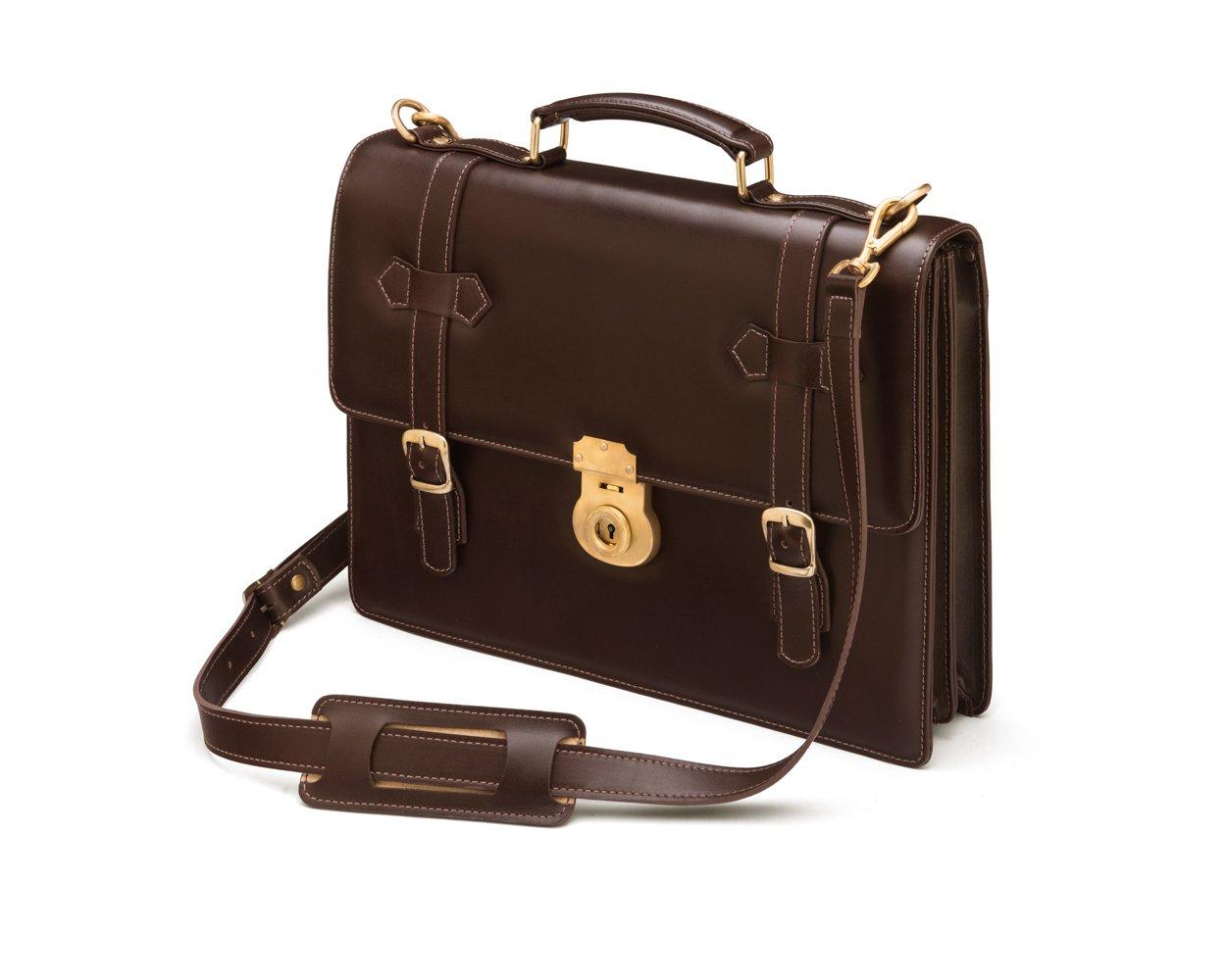 SAGEBROWN Brown Cambridge Briefcase With Brass Lock