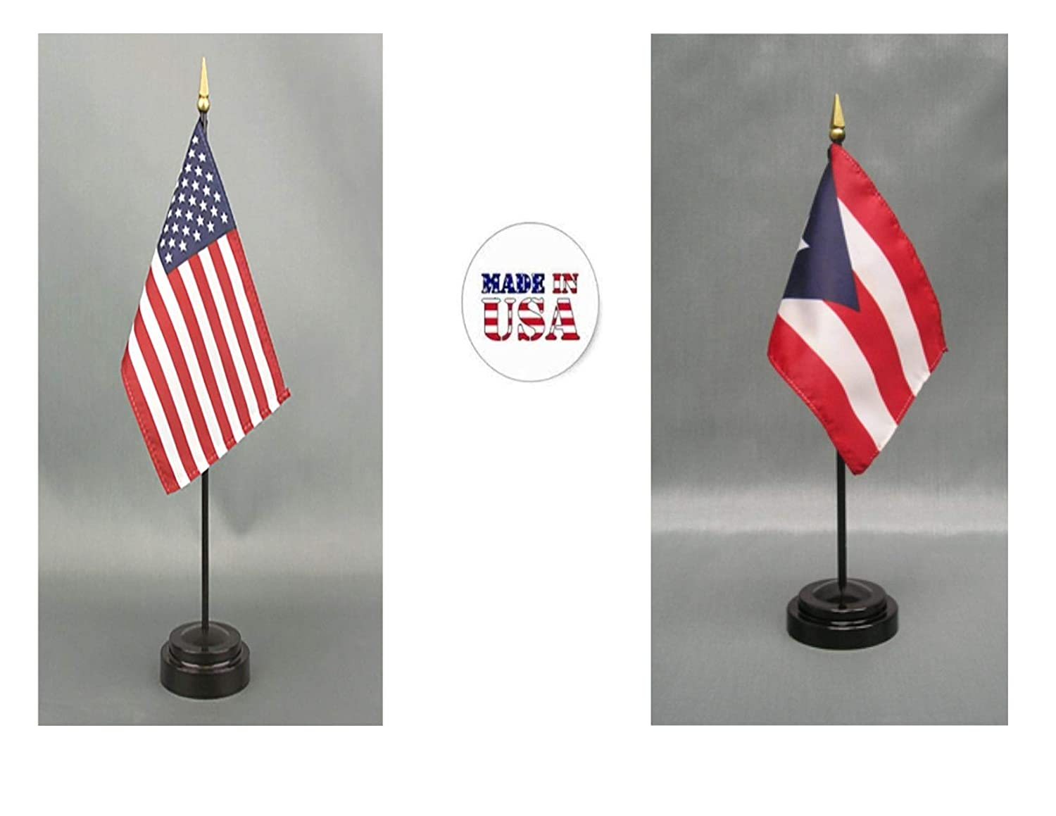 Made in The USA. 1 American and 1 Puerto Rican Rayon 4\'x6\' Office Desk & Little Hand Waving Table Flag, Includes 2 Flag Stands & 2 Small 4\'x6\' Mini Stick Flags
