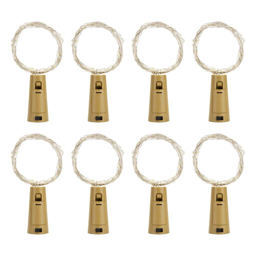 PENGYGY Fashion 8PCS Bottle Lights Cork Shape for 2M 20 LED Wine Bottle String Party Romantic