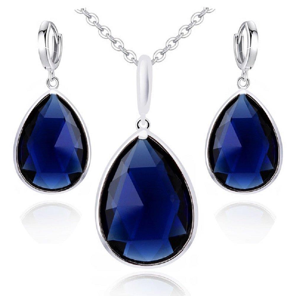 GP Or Blanc 18K Saphir Bleu ou Rose Ruby Femme–Collier Femme–Cristaux Swarovski de boucles d'oreilles Crystalline CR-AZ-0382