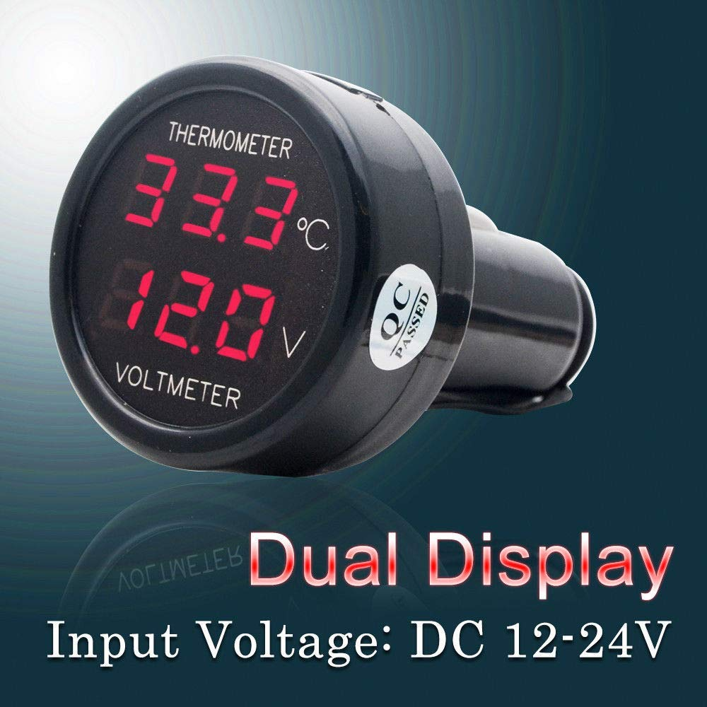 Car Temperature Clock Universal Auto Dashboard Digital Clocks with Blacklight And LCD Screen Adjustable Vehicle Temperature Gauge Support 12h/24h Transformation Modes-Thermometer Voltmeter B