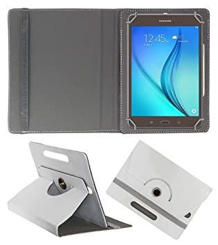 Acm Rotating 360 Leather Flip Case Compatible with Samsung Galaxy Tab A T355y Cover Stand White Mobile Phone Cases   Covers