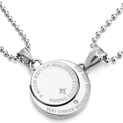 be13b0c775 COOLSTEELANDBEYOND A Pair Couples Lovers Steel Moon and Sun Pendant  Necklace with Cubic Zirconia for Man Woman Friends   Amazon.com