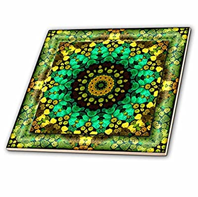 3dRose ct_42579_3 Mandala 29 Floral Flowers Green Turquoise Gold Glowing Peace Meditation-Ceramic Tile, 8-Inch