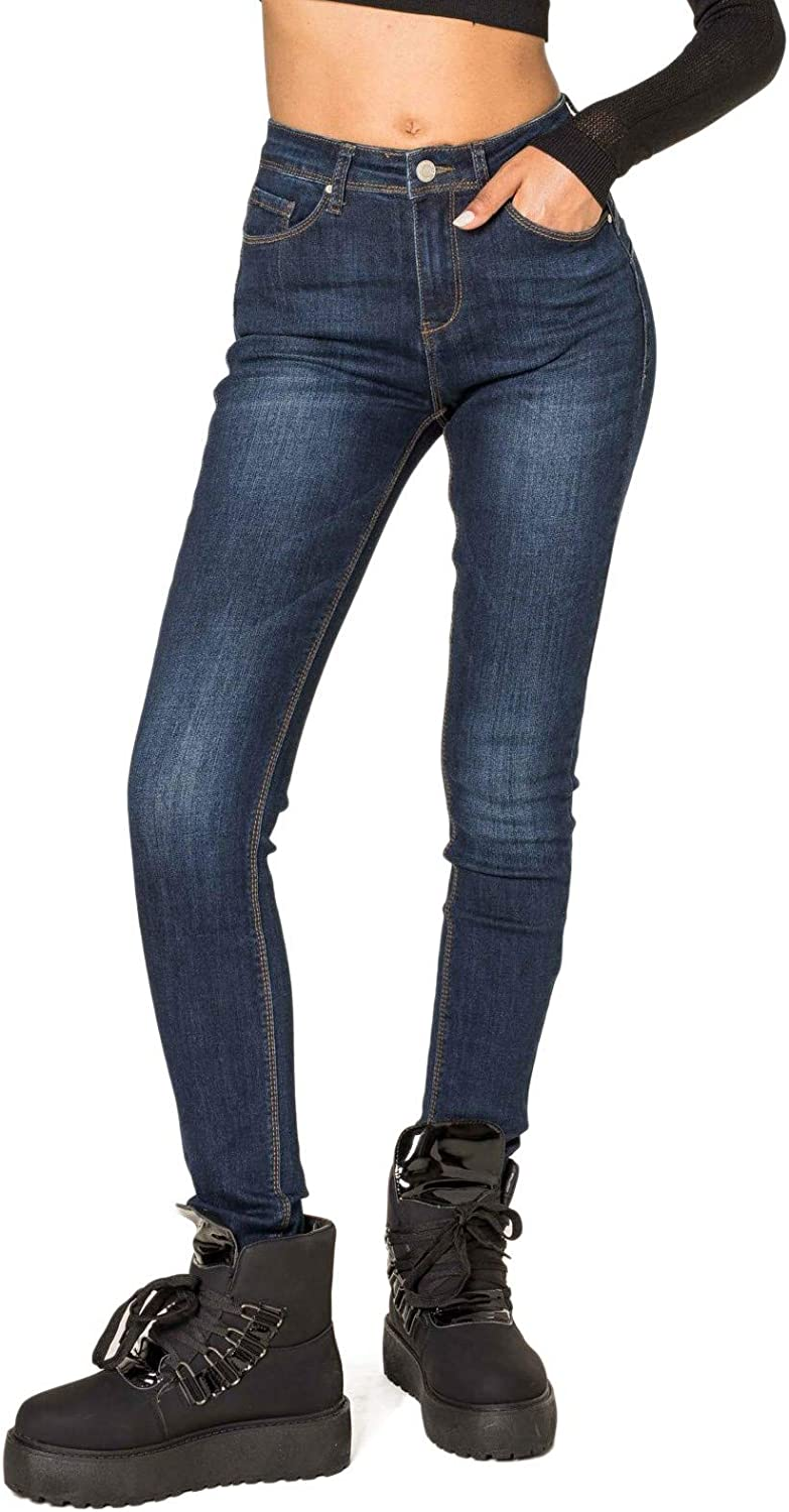 Nina Carter Women's Jeans High Waist Stretch Trousers Washed Pleated Look Stretch Stylish Skinny Pants Ankle Length Used Look Destroyed Dark Blue (Mid Wash Blue P076-2b).