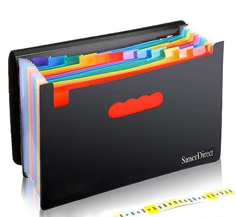 Carpetas de archivos expandibles, 12 bolsillos, multicolor, acordeón, A4, archivador,