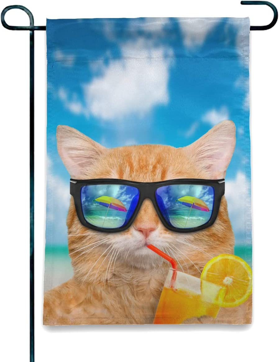 Welcome Seasonal Garden Flag Vertical Double Sided Polyester Yard Lawn Outdoor Decor Funny Cat with Garden Flag Indoor & Outdoor Decorative Flags for Parade Sports Game Family Party Wall Banner gift