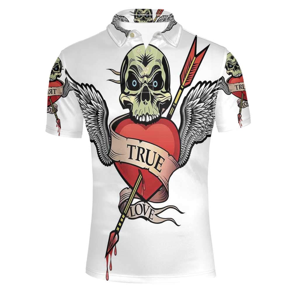 Tattoo Decor Stylish Polo Shirt,Skull with Diamond Eyes and Floral Vine Art Tattoo Renaissance Inspired for Men,L