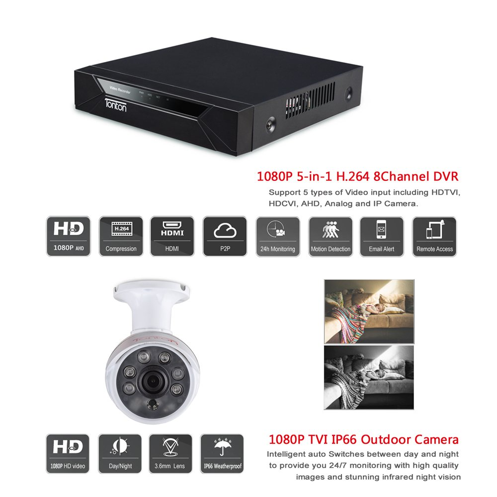 Tonton 8CH Full HD 1080P Security Camera System, 5-in-1 Surveillance Video Recorder with 4PCS Outdoor Indoor Bullet Cameras and 4PCS Dome Cameras, Face Recognition and Night Vision NO HDD