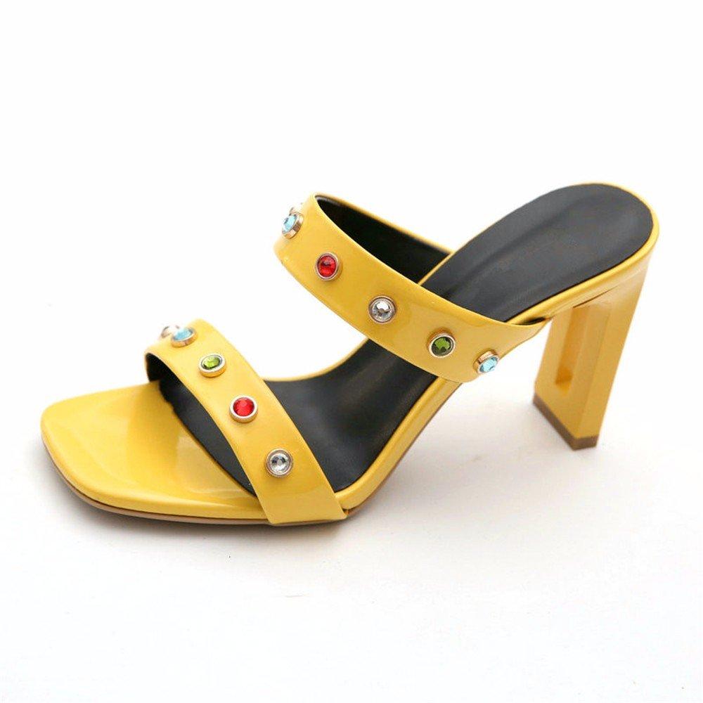 YMFIE Tempérament de Confortable Mode européenne d'été Confortable de Couleur Diamant Haut Talon Sandales Dames Sandales et Pantoufles 38 EU|yellow 7b4b4b