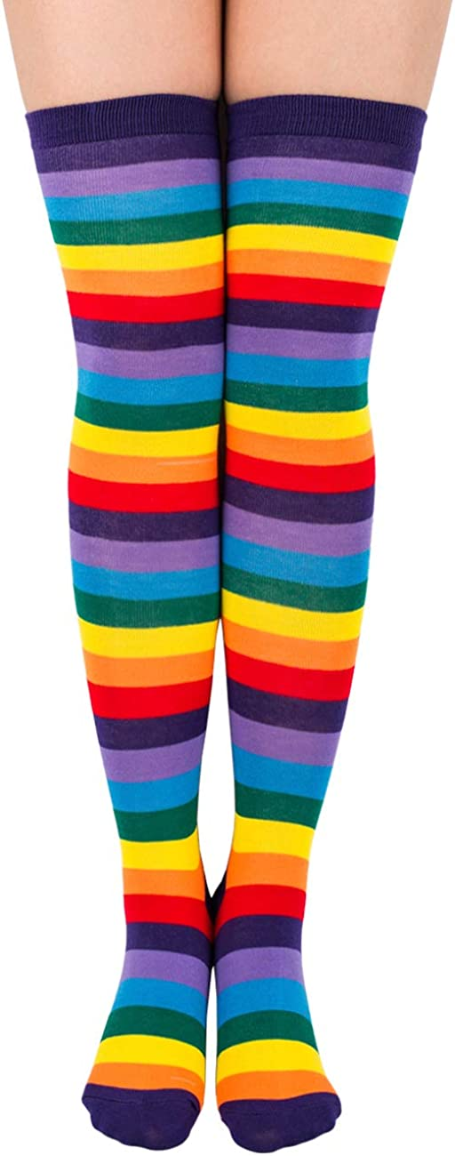 TooPhoto Rainbow Socks for Women Knee High Stockings Colorful Stripes Thigh High