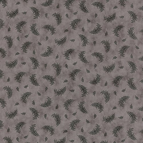 Small Dark Gray Feathers on Light Gray, Quill, 3 Sisters, Moda, By the Yard (3 Sisters Moda)