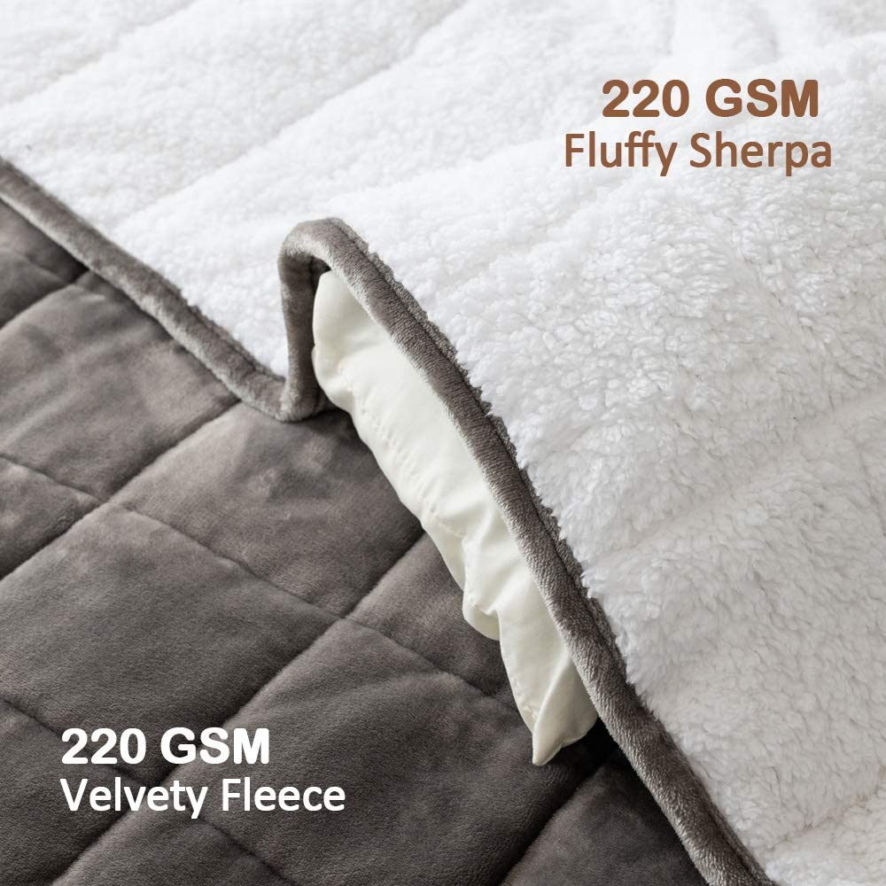 "Super Soft Fleece Heavy Blankets with Premium Ceramic Beads Grey, 48/"" x 72/"" REEPOW Sherpa Weighted Blanket 12 lbs for Adults Twin//Full Size Bed"