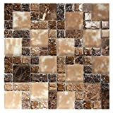 French Pattern Dark Brown Mosaic Glass Tile With Cracked and Recycled Glass - Crius 6 Mosaic Tile - Backsplashes, Walls, Shower (Box of 10 Sheets)