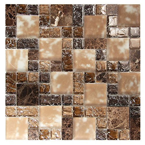 Brown Mosaic Glass Tile With Cracked and Recycled Glass - Crius 6 Mosaic Tile - Backsplashes, Walls, Shower (4 x 6 Inch Sample) (Recycled Glass Floor Tile)