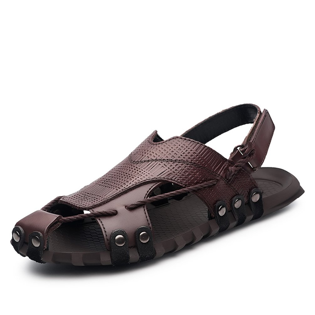 ailishabroy Herren Schwarz/Braun Echtleder Verstellbare Touch Befestigen Comfort Gladiator Sommer Sandalen Schuhe  42 EU|Braun