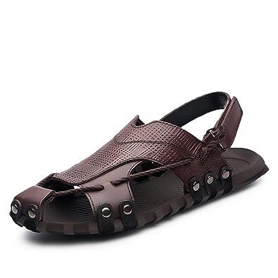 ailishabroy Herren Schwarz/Braun Echtleder Verstellbare Touch Befestigen Comfort Gladiator Sommer Sandalen Schuhe