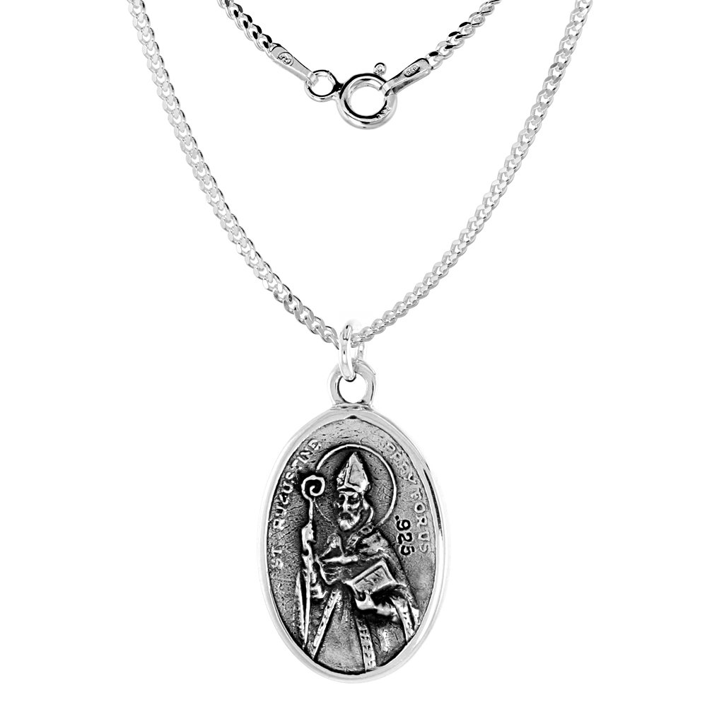 Sterling Silver St Monica and St Augustine Medal Necklace Oval 1.8mm Chain