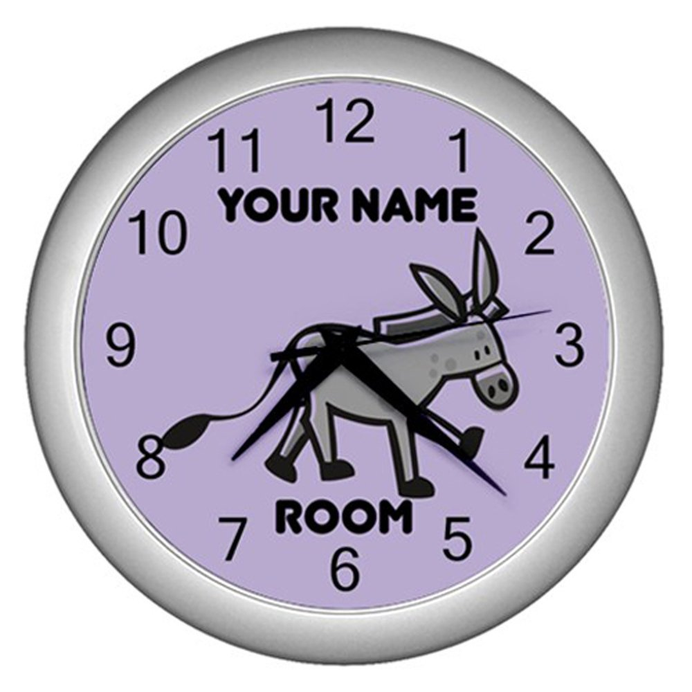 Purple Personalized Donkey Wall Clock