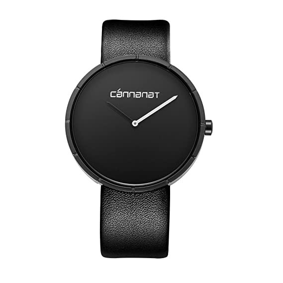 informal durante todo el cuero negro de la mujer de cuarzo reloj con esfera de negro simple de la muñeca vestido de relojes de señoras de las mujeres: ...