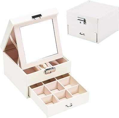 Caja organizadora de joyas Hododou de 2 capas de almacenamiento de joyas con espejo portátil para anillos, pendientes, collares regalo para niñas madre mujeres: Amazon.es: Joyería