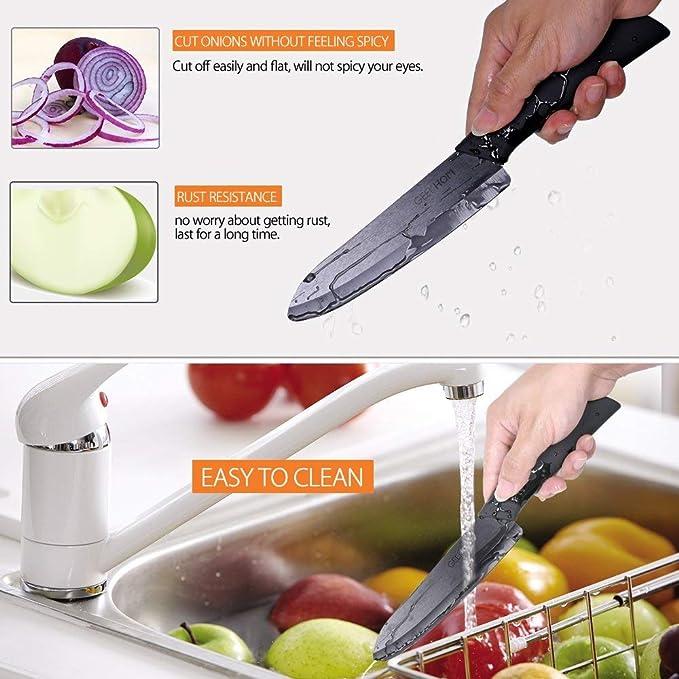 GEEKHOM Cuchillos de Cocina, Juego de Cuchillos de Cerámica, Chef Set para Cortar Carne Verduras Fruta, 5 Piezas (4 x Cuchillos, 1 x pelador, Negro)