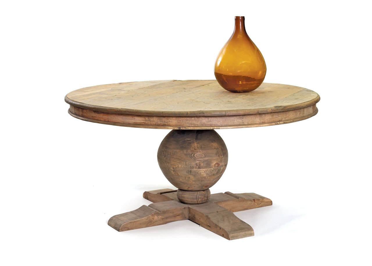 Rustic Wood Round Pedestal Table   Reclaimed Dining Room