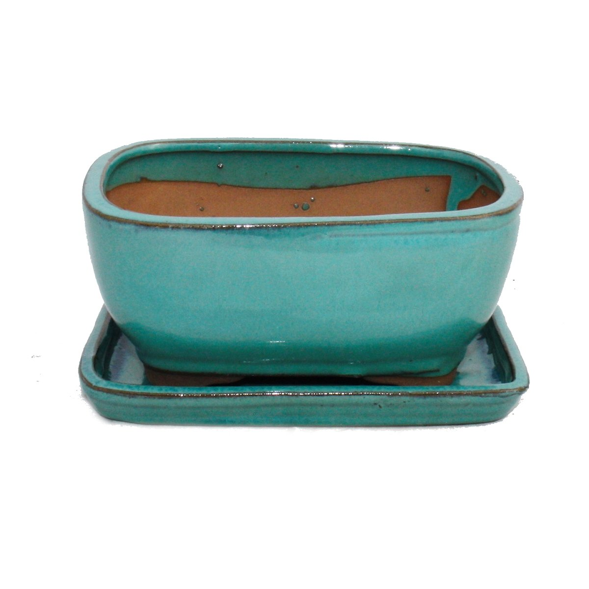 Bonsai cup and saucer Gr. 2 - turquoise - oval - model G92 - L 15,5cm - B 12,5cm - H 7cm exotenherz
