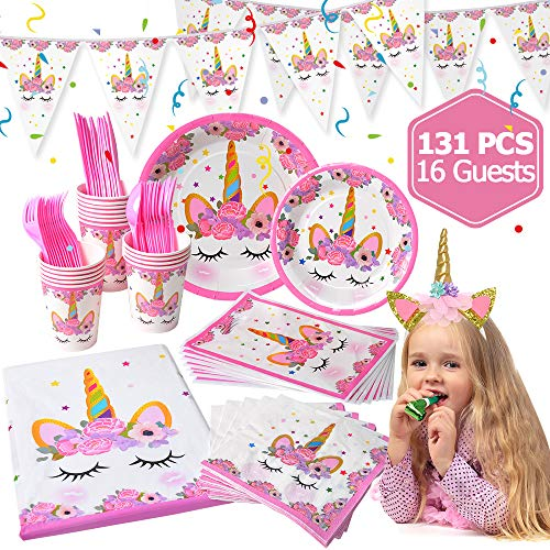 - LUDILO Unicorn Party Supplies and Decorations Set 131 piece for birthday party Supplies,-Serves 16 guests- Unicorn Themed Party Perfect for Girl Birthday Gift, Unicorn Headband/Unicorn Banner/Unicorn Party Favors Bag/Unicorn Tableware/Tablecloth/Napkin